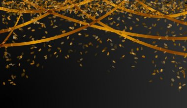 falling gold confetti on black background