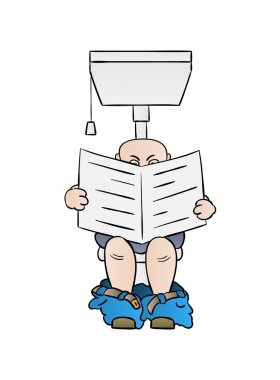 man reading newspaper on toilet