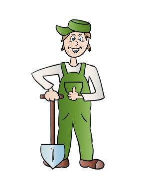 gardener man with spade