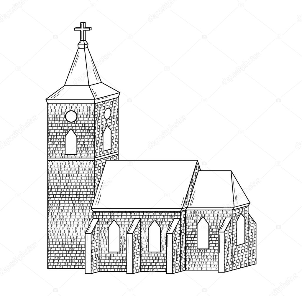 Skizze der Kirche — Stockvektor © muuraa #75289145