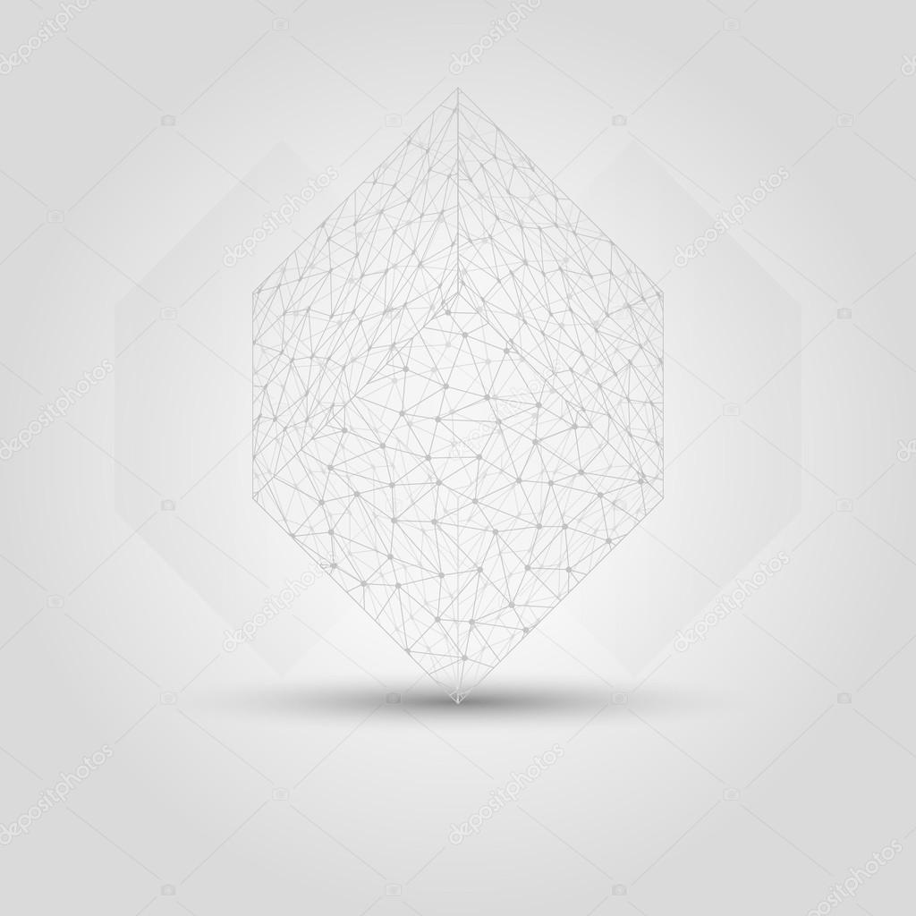 Würfel aus chaotisch verbundenen Punkte — Stockvektor © muuraa #89006412