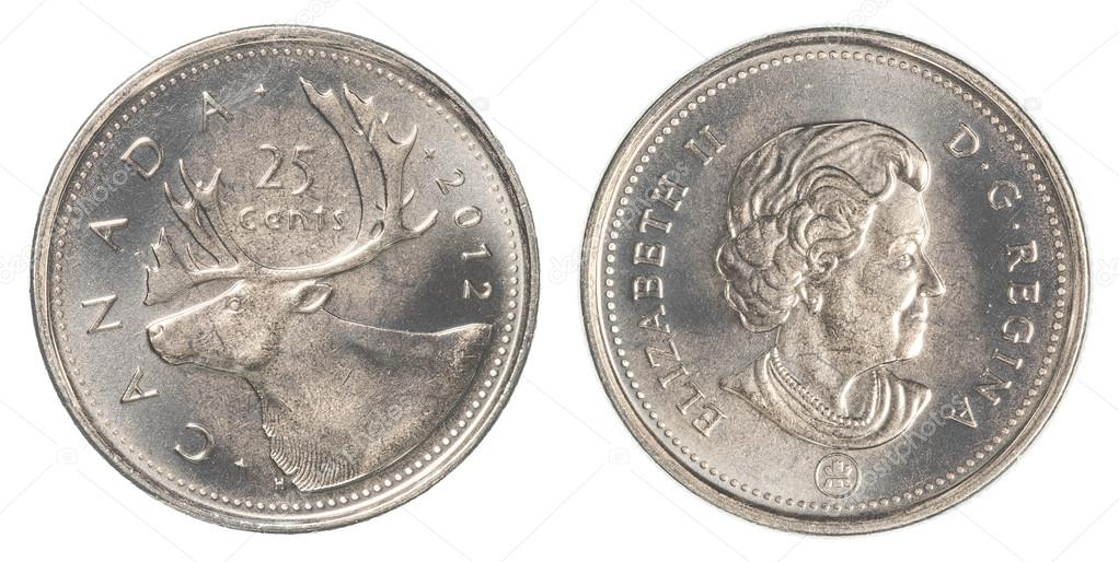 25 canadian cents coin isolated on white background