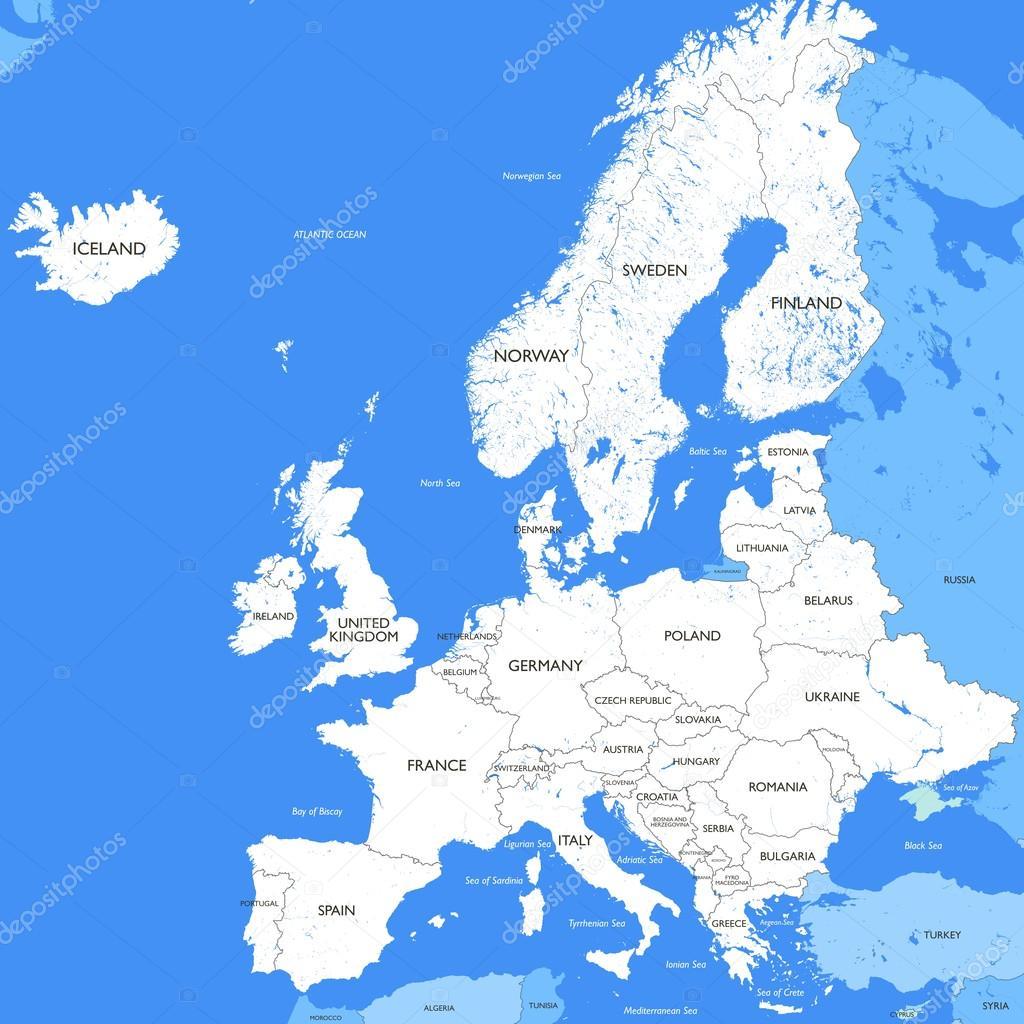 Carte Europe Blanche.Carte Detaillee De L Europe Blanche Image Vectorielle
