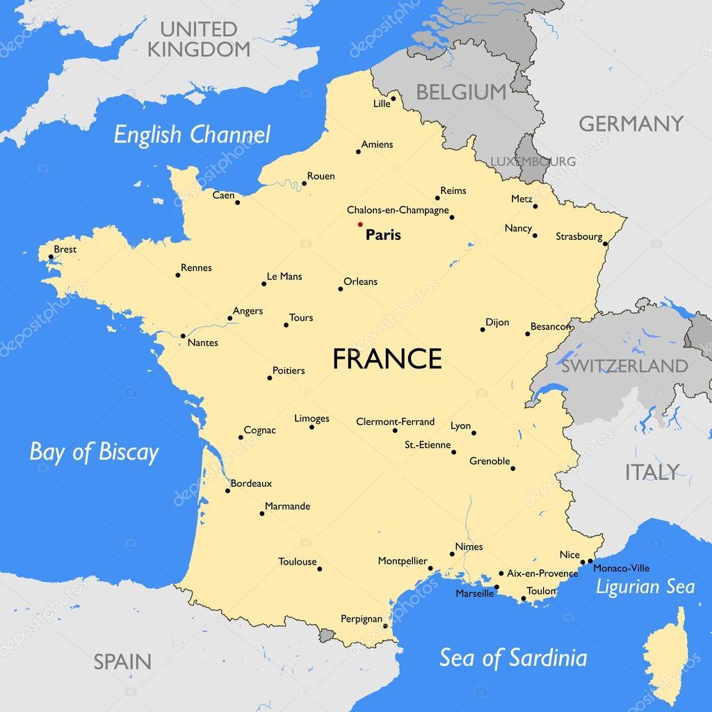 mapa de frança mapa de França — Vetor de Stock © lynx_v #68598101 mapa de frança