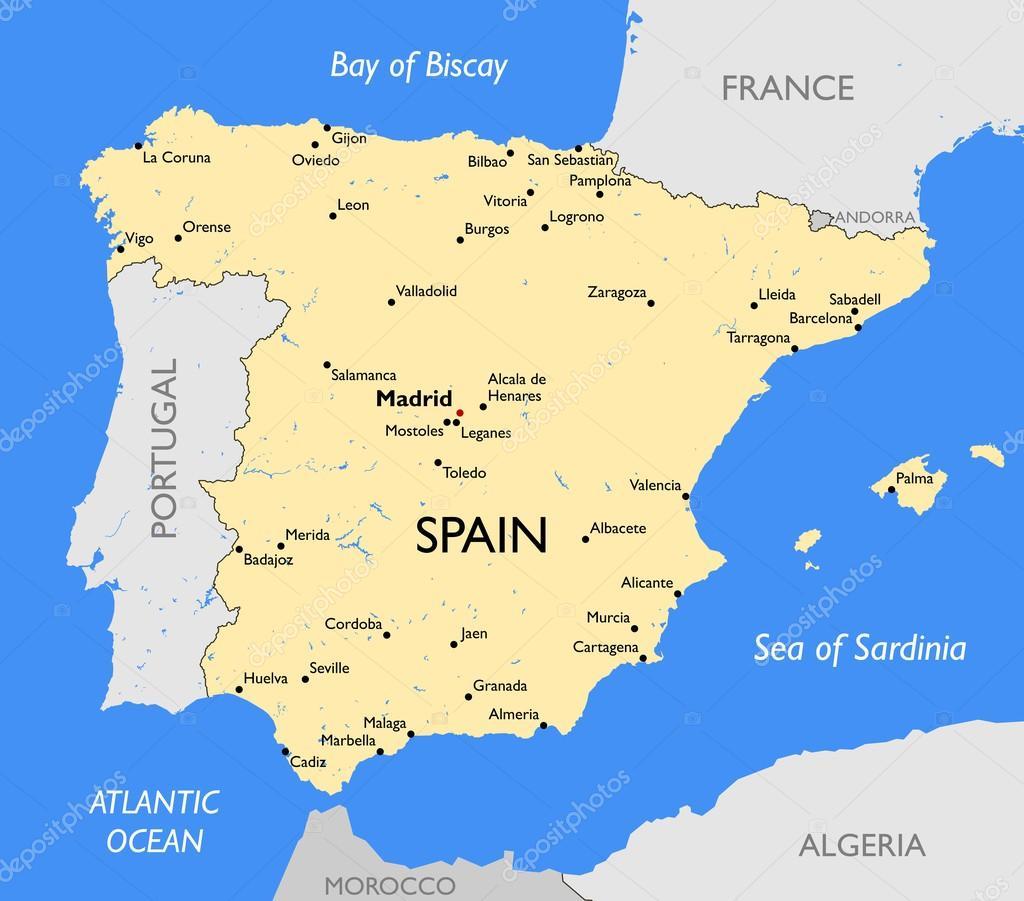 mapa espanha mapa de Espanha — Vetor de Stock © lynx_v #70186295 mapa espanha