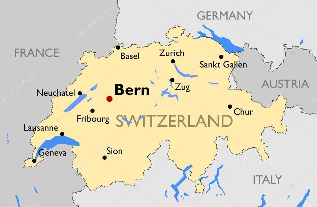 Mapa Politico De Suiza.Mapa Politico De Suiza Mapa De Suiza Vector De Stock