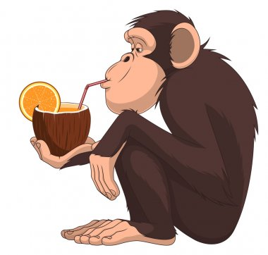 Monkey with a fruit cocktail