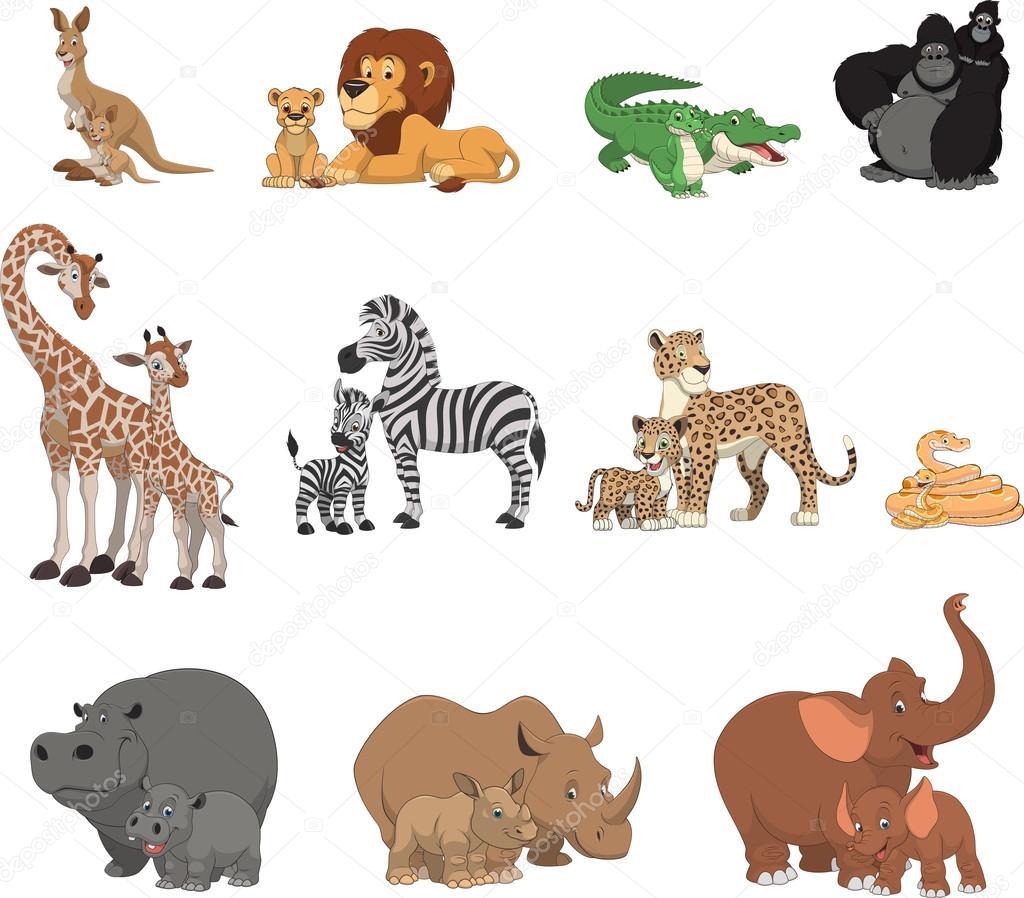 面白い子供動物親子 — ストックベクター © andrey_makurin #106462952