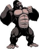 The fierce gorilla shouts