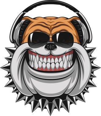 Funny Bulldog wearing headphones