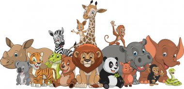 Vector illustration set of funny exotic animals stock vector