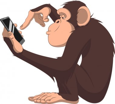 Monkey and smartphone