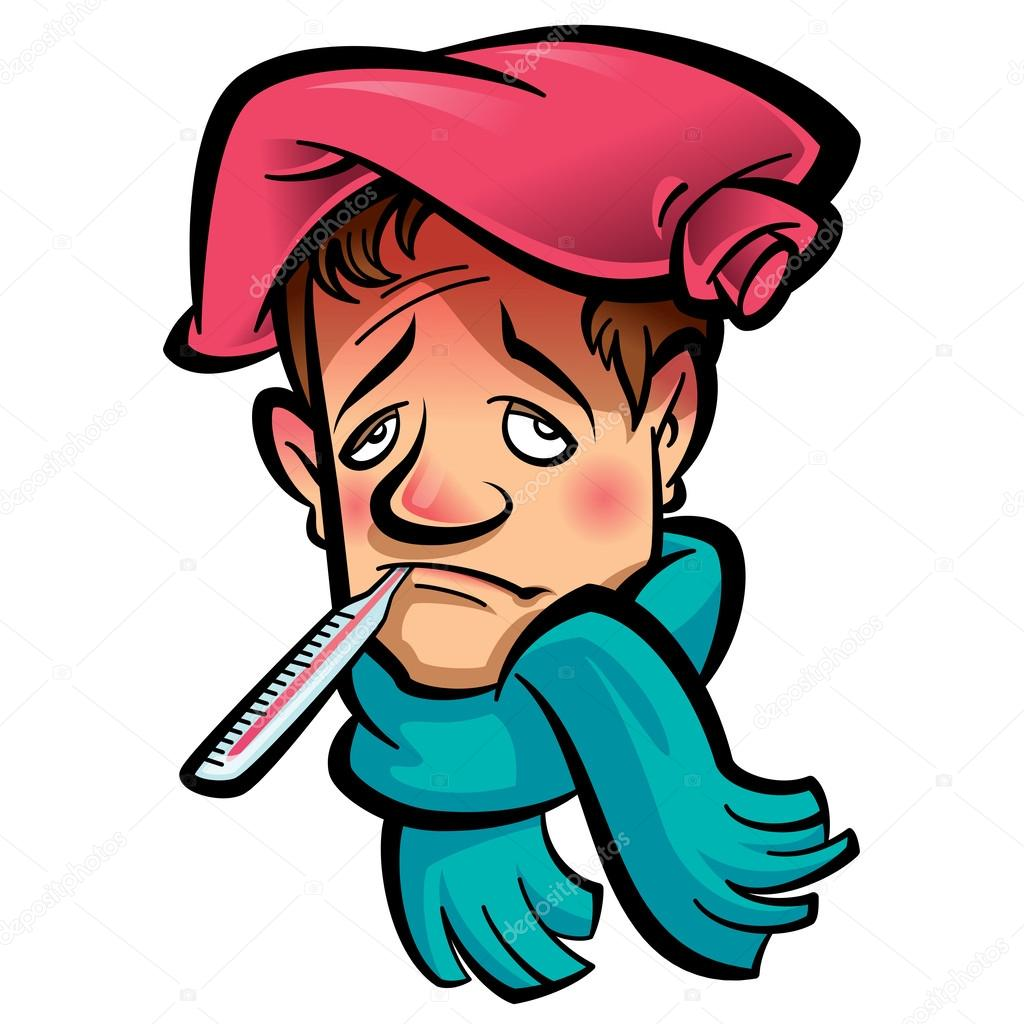 cartoon sick man head with thermometer scarf and ice bag stock rh depositphotos com sick old person clipart free sick person clipart