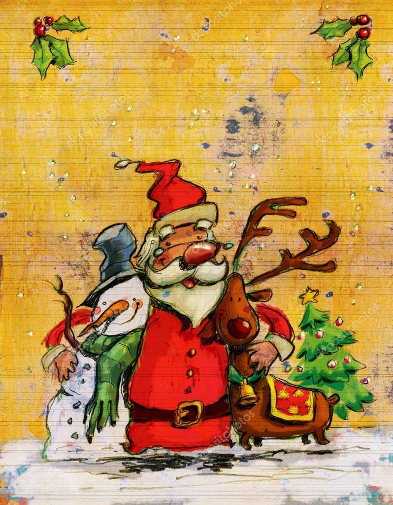 Cartoon Santa Claus big christmas hug with snowman and reindeer ...