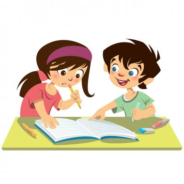 Boy and girl kids students studying doing their homework togethe