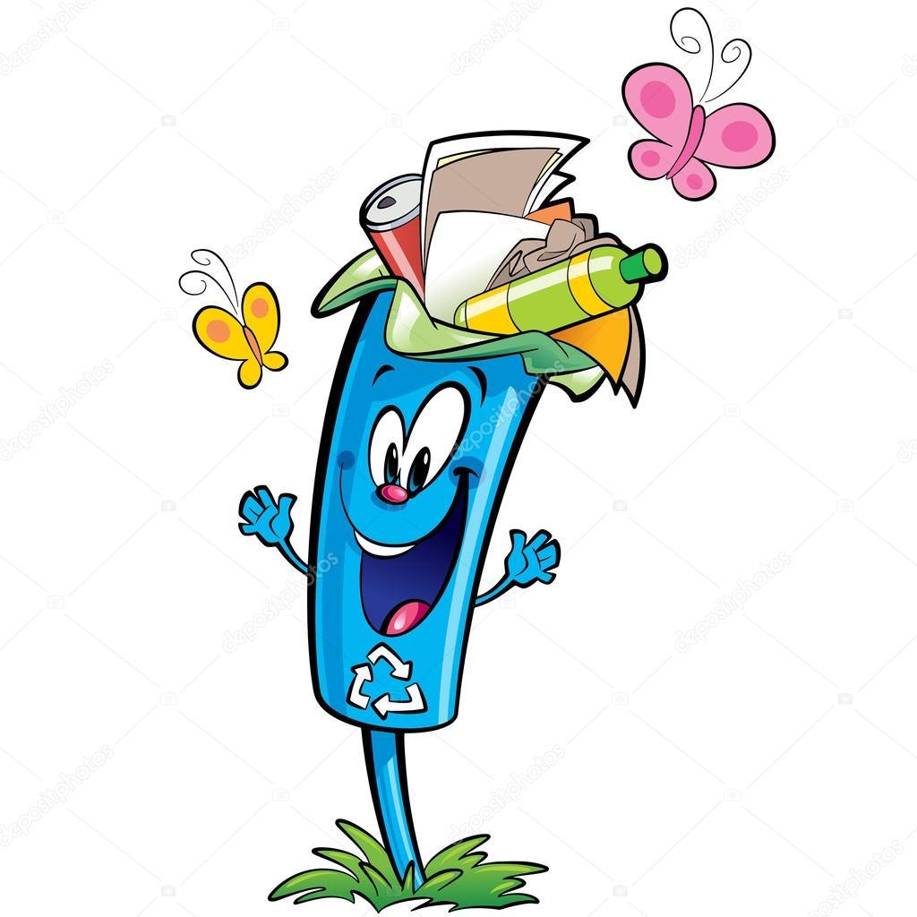 Happy cartoon recycle trash bin character recycling paper plasti