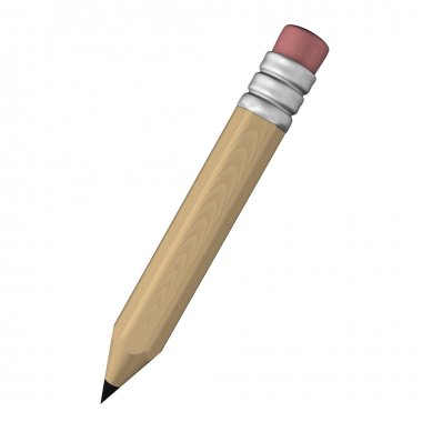 3D wooden pencil with eraser illustration isolated in white back