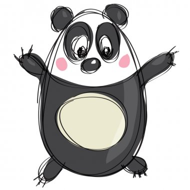 Cartoon black and white cute panda as naive children drawing