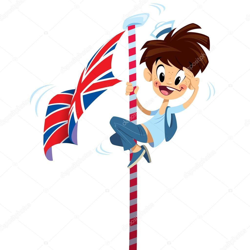 Dibujos animados excitaron muchacho sonriente feliz - Dibujo bandera inglesa ...