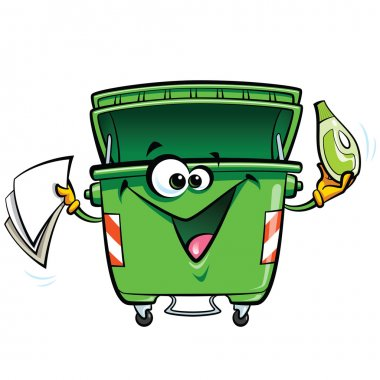 Happy smiling face cartoon green trash bin character with gabadg