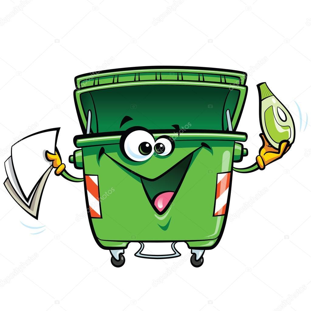 Heureux souriant visage vert poubelle bin personnage de dessin anim avec gabadg image - Dessin de poubelle ...