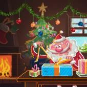 Interieur-Szene von Cartoon-Weihnachtsmann, der Geschenke für Weihnachten einwickelt