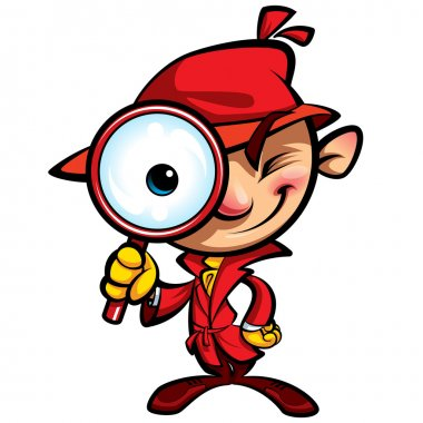 Cartoon cute detective investigation with red coat and magnifyin