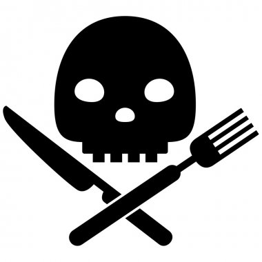 Black vector warning symbol concept of eating unhealthy dangerou