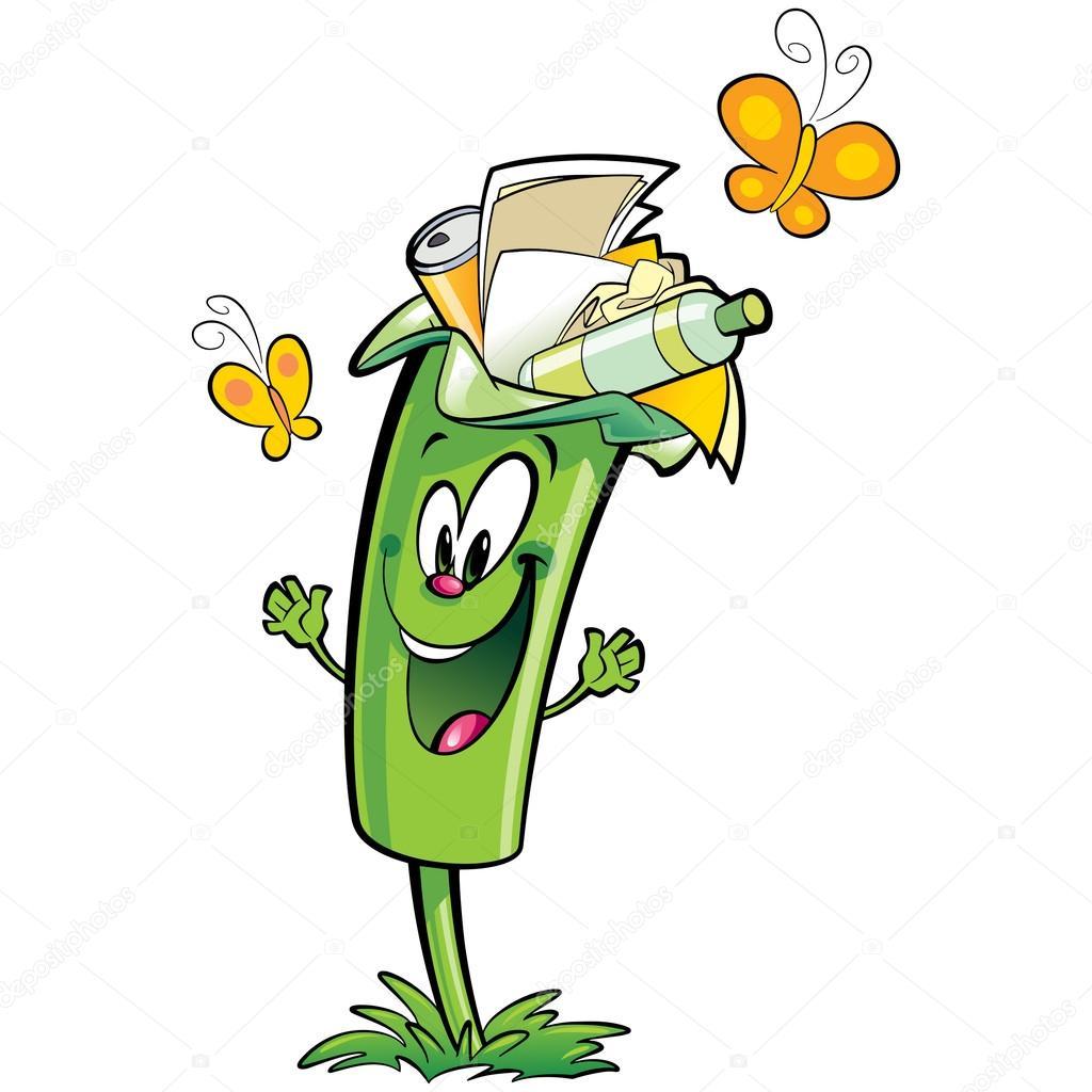 personagem de bin de lixo verde de desenho feliz reciclagem papel