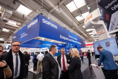 HANNOVER, GERMANY - MARCH 14, 2016: Booth of Sophos company at CeBIT information technology trade show in Hannover, Germany on March 14, 2016