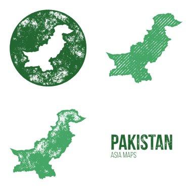 Pakistan Grunge Retro Maps - Asia