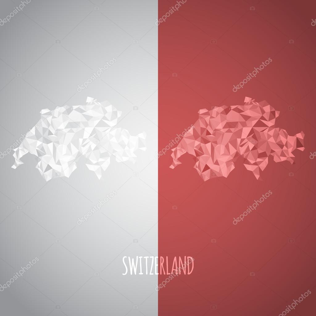 Low Poly Switzerland Map with National Colors
