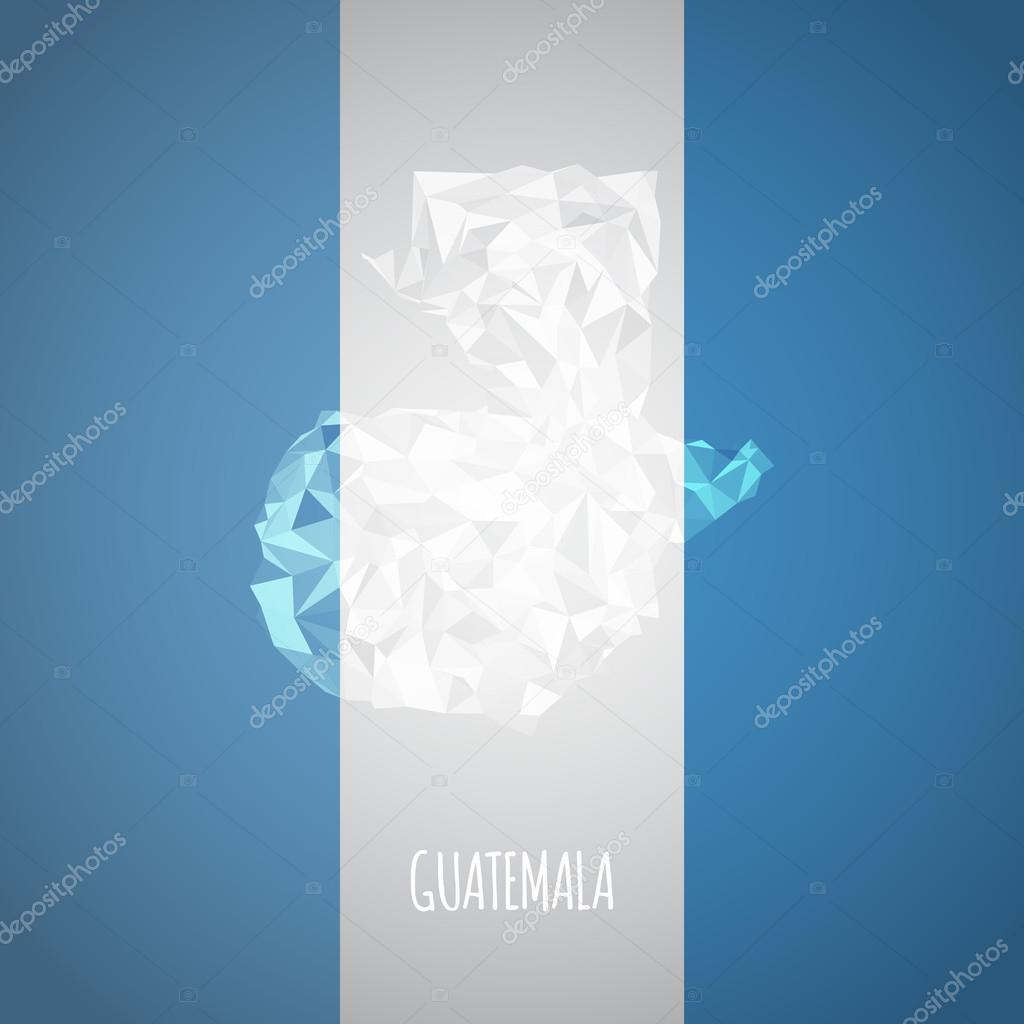 Low Poly Guatemala Map with National Colors