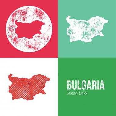 Bulgaria Grunge Retro Map