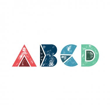 A B C D - Abstract grunge retro alphabet from simple geometric s