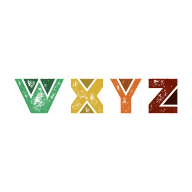 W X Y Z - Abstract grunge retro alphabet from simple geometric shapes - Colorful capital letters - Typography and infographic resource stock vector