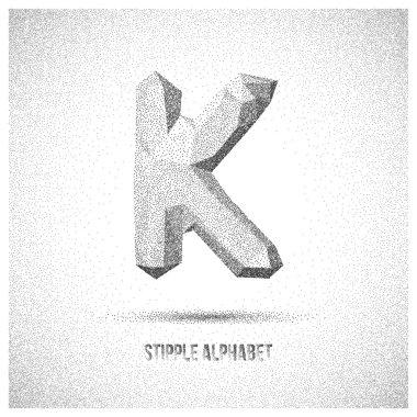 Letter K from Stipple Alphabet