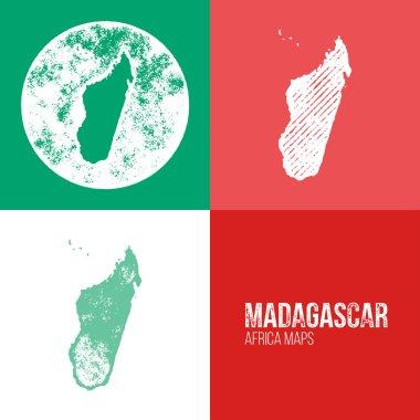 Madagascar Grunge Retro Maps - Africa