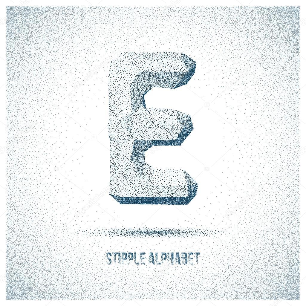 Letter E from Stipple Alphabet