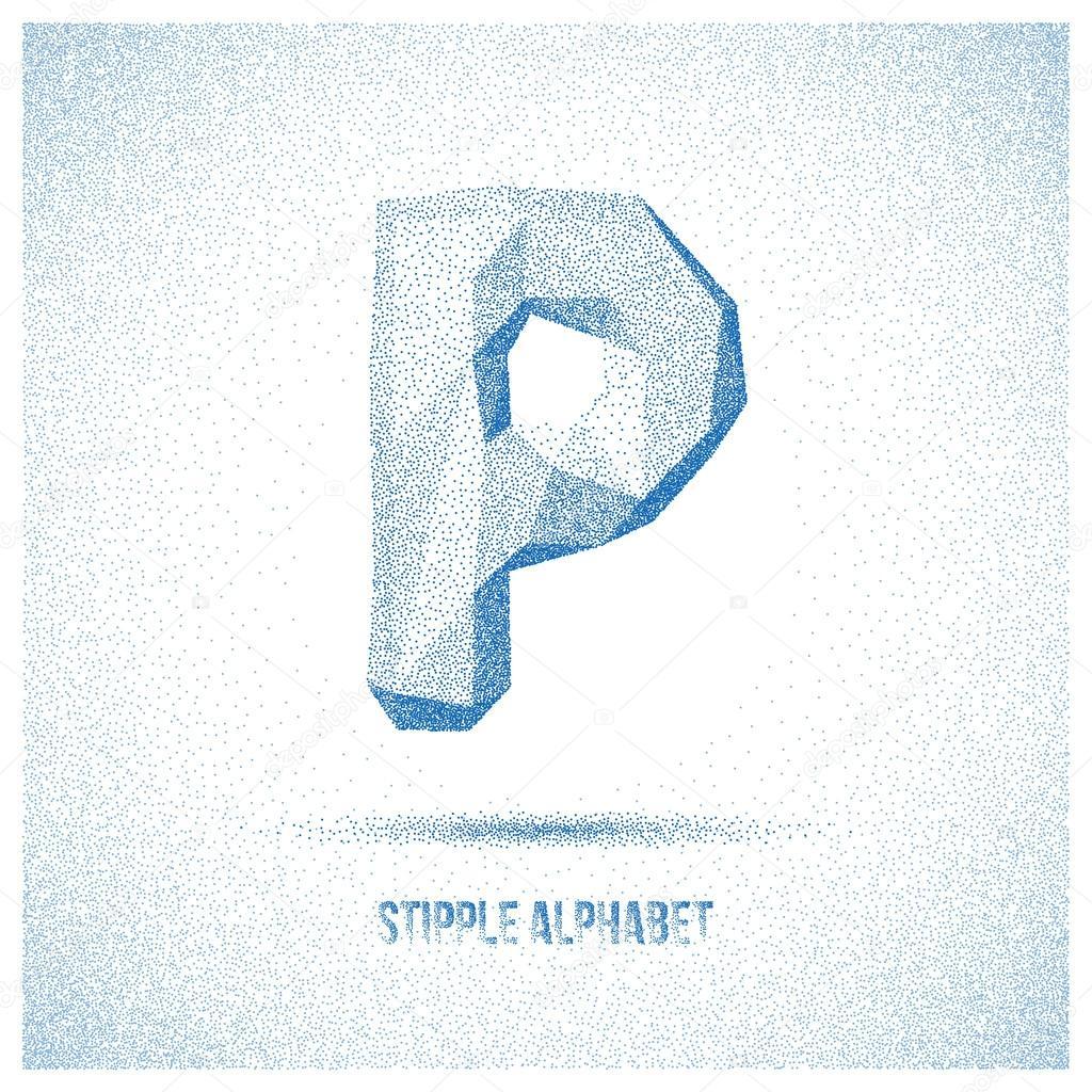 Letter P from Stipple Alphabet