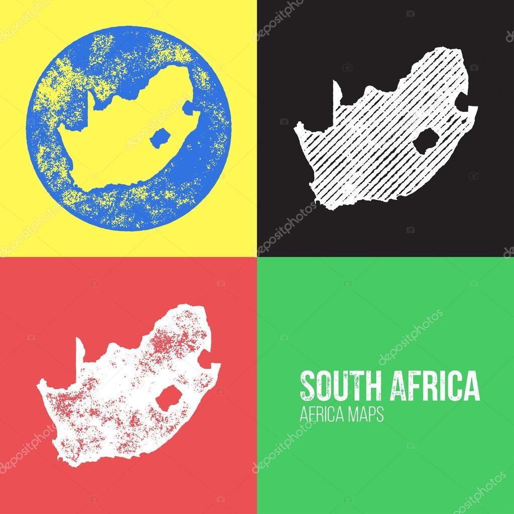 South Africa Grunge Retro Maps - Africa