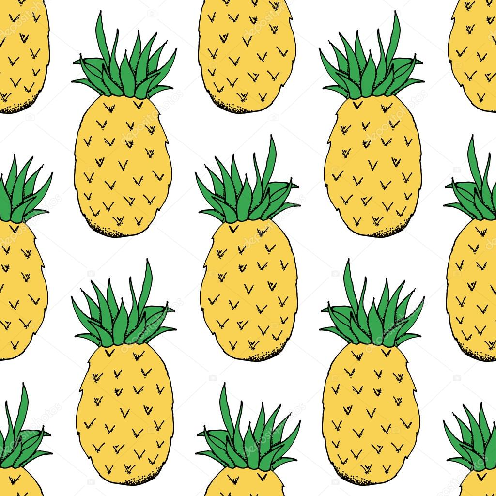 Hand Drawn Pineapple Pattern on White Background