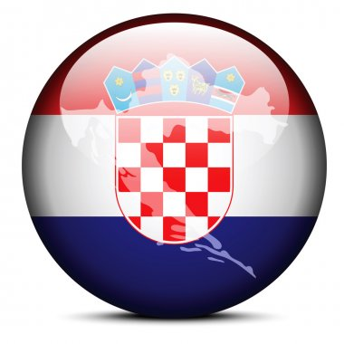 Map on flag button of Republic of Croatia