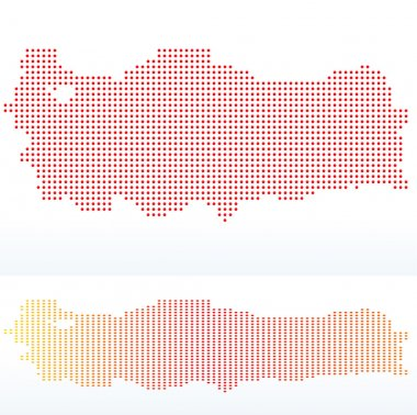 Map of Republic of Turkey with with Dot Pattern