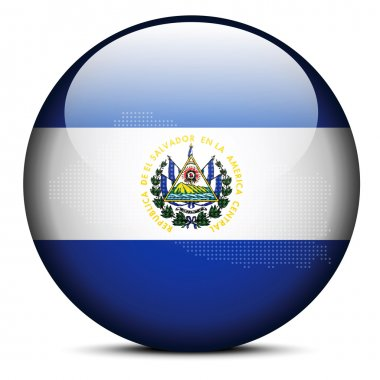 Map with Dot Pattern on flag button of Republic of El Salvador