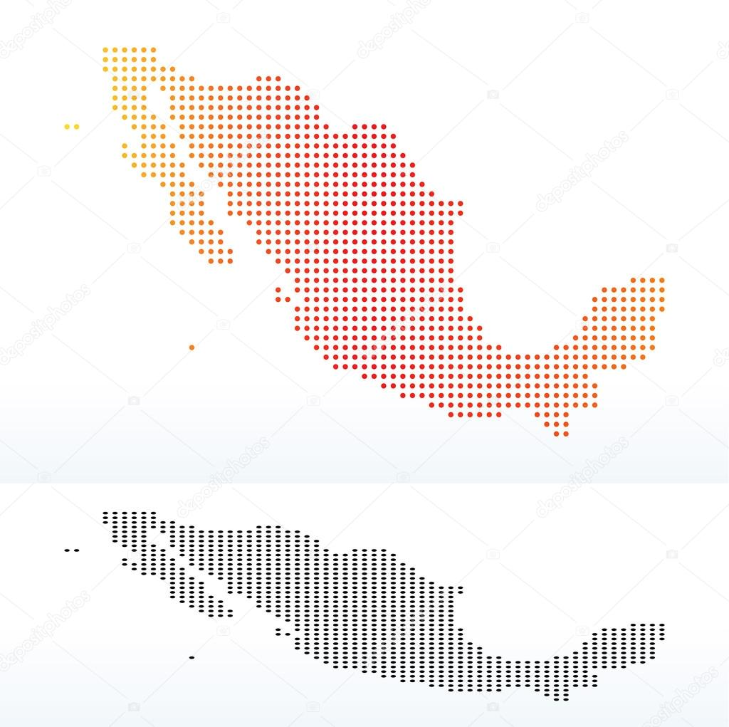 Map of United Mexican States with Dot Pattern — Stock Vector ...