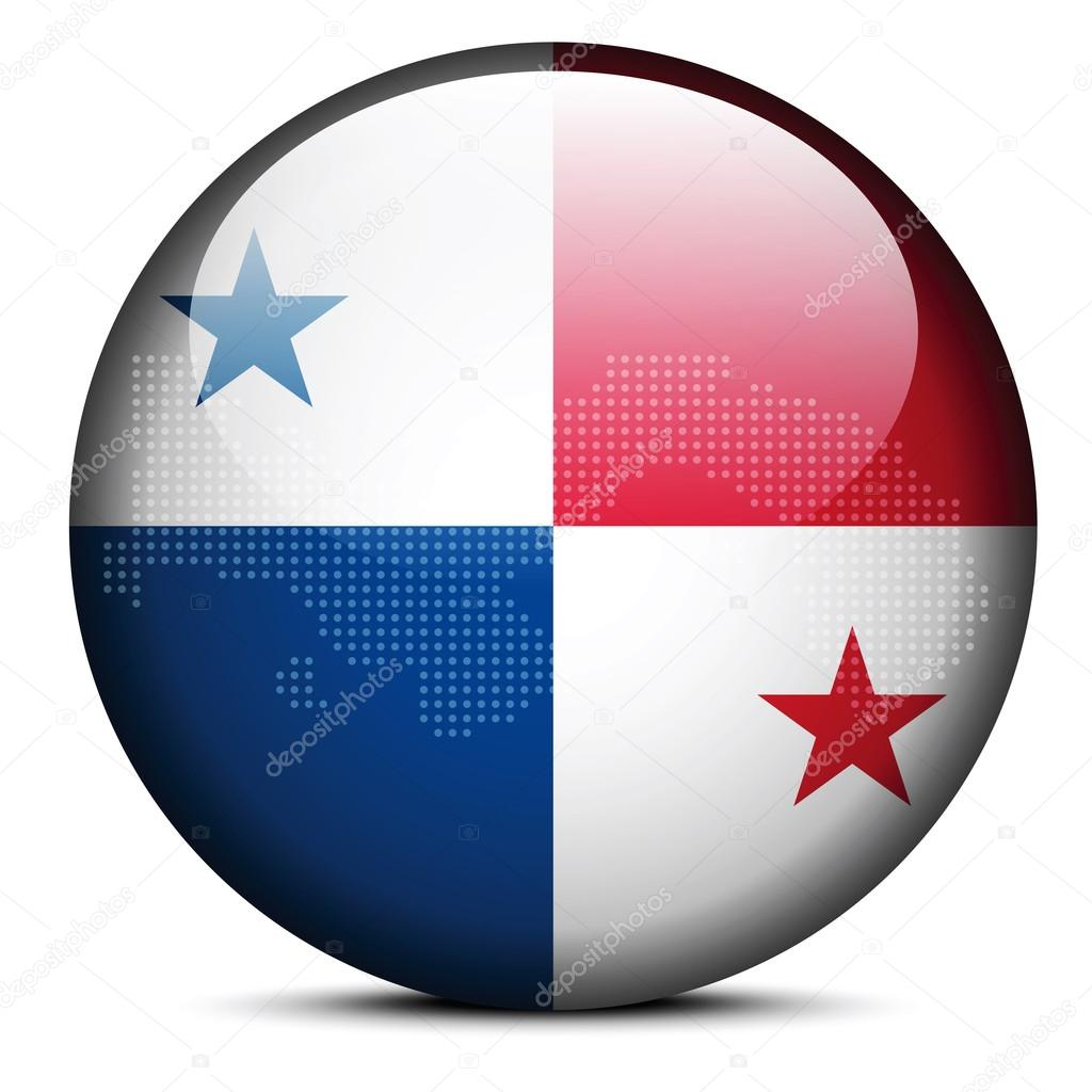 Map with Dot Pattern on flag button of Republic  Panama