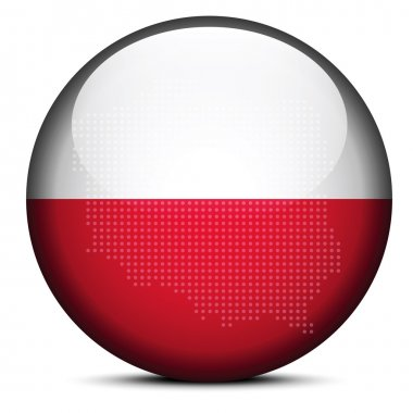 Map with Dot Pattern on flag button of Republic  Poland