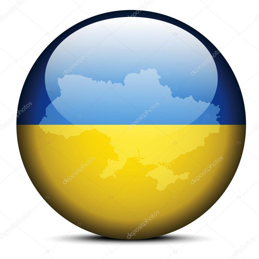 Map on flag button of Ukraine
