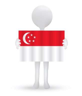 small 3d man holding a flag of Republic of Singapore